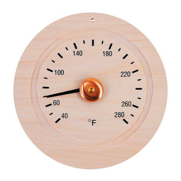 Round Pine Wood Sauna Gage Thermometer by ALEKO