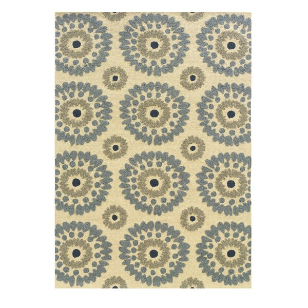 Savanah Hand-Tufted Ivory/Blue Outdoor Area Rug by Winston Porter