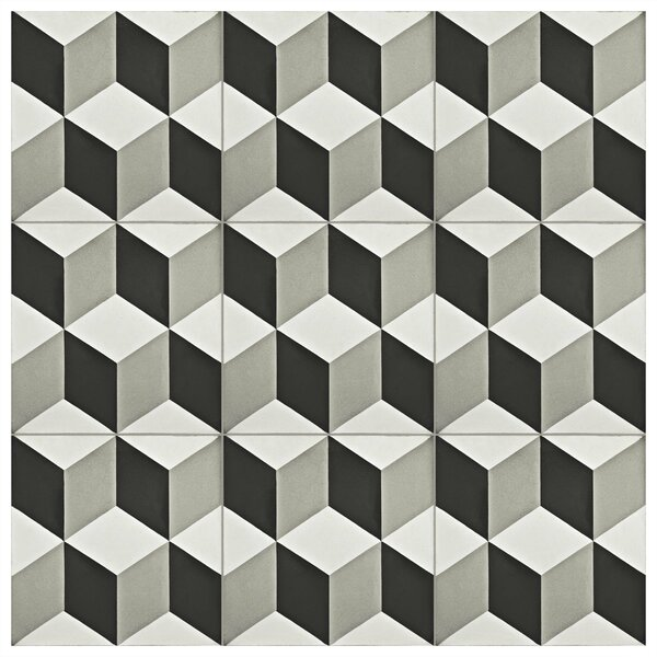 Ciment 7.88 x 7.88 Cement Field Tile in Gray/Black by EliteTile