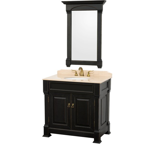 Andover 36 Single Antique Black Bathroom Vanity Set with Mirror by Wyndham CollectionAndover 36 Single Antique Black Bathroom Vanity Set with Mirror by Wyndham Collection