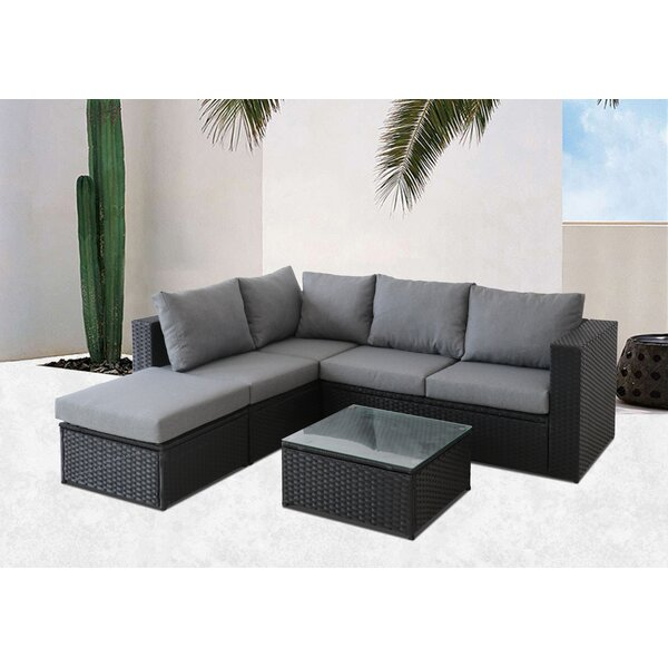 Dubreuil 4 Piece Rattan Sectional Seating Group with Cushions by Brayden Studio