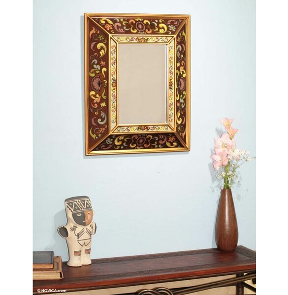 Flowers Reverse Accent Mirror by Novica
