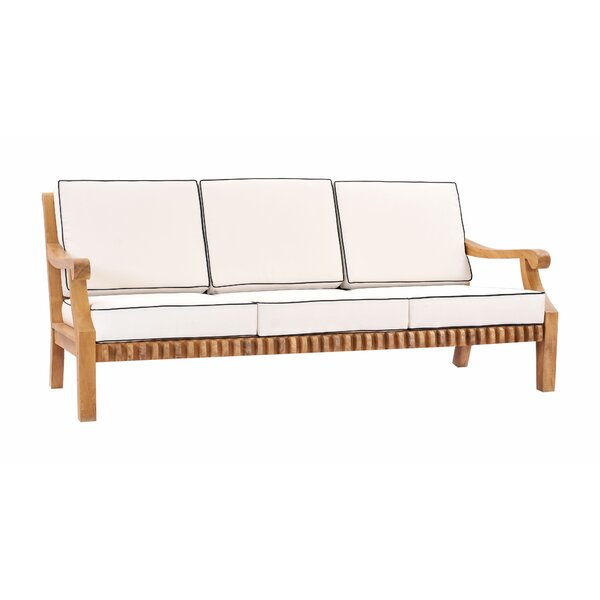 Coral Deep Seating Teak Patio Sofa with Cushions by Loon Peak Loon Peak