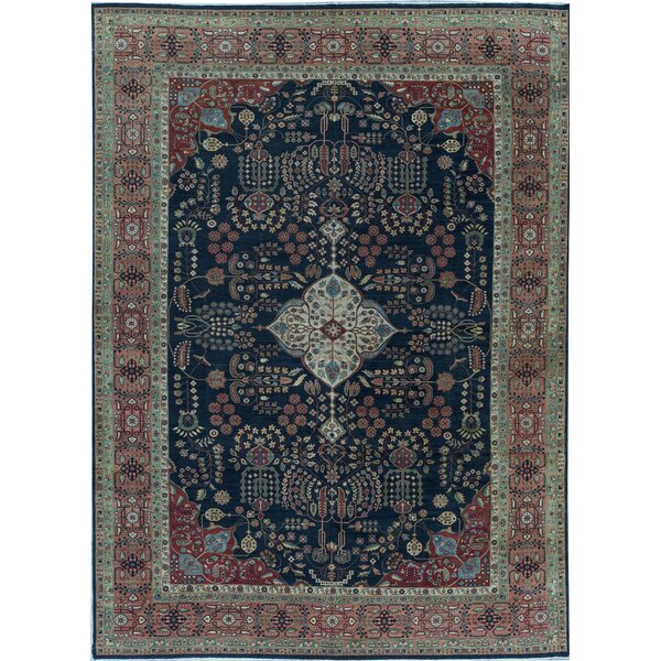 Oriental Hand-Knotted Wool Blue/Rust Area Rug