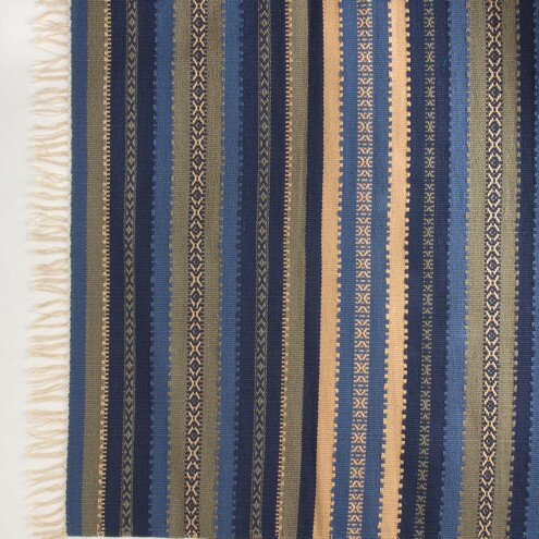 Croslin Hand-Woven Cotton Ocean Stripe Area Rug by Bloomsbury Market