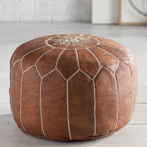 Cherise Leather Pouf by Mistana Mistana