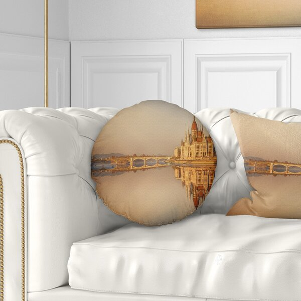 Cityscape Hungarian Parliament Panorama Throw Pillow by East Urban Home