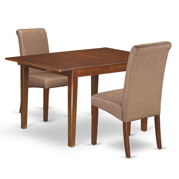 Charity Kitchen Table 3 Piece Counter Height Extendable Solid Wood Dining Set by Winston Porter