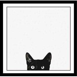 'Curiosity Black Cat, Black and White Photograph of Kitty Kitten Peeking' Framed Graphic Art Print Poster by Latitude Run
