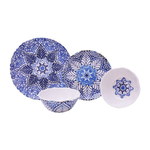 Rustic Medallion 12 Piece Melamine Dinnerware Set, Service for 4 by 222 Fifth