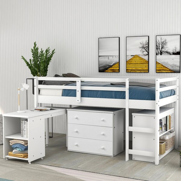 Altheimer Twin Low Loft Bed with Drawers by Harriet Bee