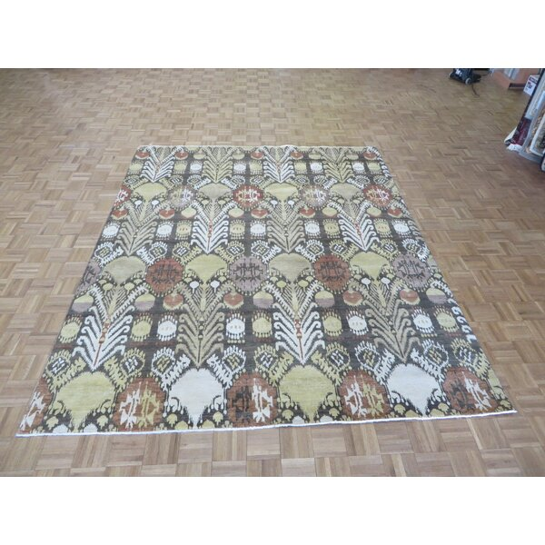 One-of-a-Kind Pellegrino Ikat Peshawar Hand-Knotted Wool Brown Area Rug by Bloomsbury Market
