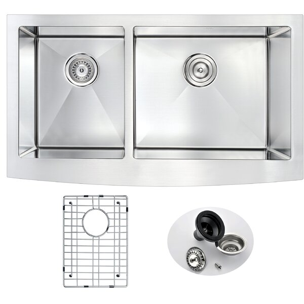 Elysian 32.88 L x 20.75 W Double Bowl Farmhouse Kitchen Sink with Drain Assembly by ANZZI