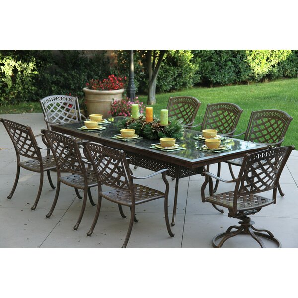 Thompson 9 Piece Dining Set with Cushions by Alcott Hill
