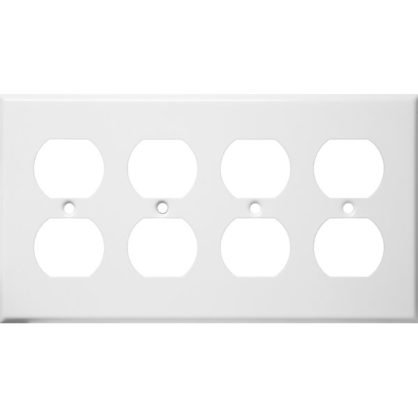 Four Gang and Duplex Receptacle Metal Wall Plates in White by Morris Products