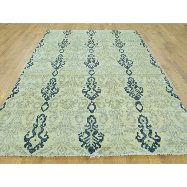 One-of-a-Kind Billwise Ikat Design Hand-Knotted Beige Wool Area Rug by Isabelline