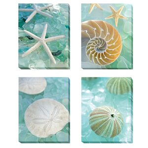 'Seaglass 1, 2, 3 and 4' by Alan Blaustein 4 Piece Photographic Print on Wrapped Canvas Set by Artistic Home Gallery