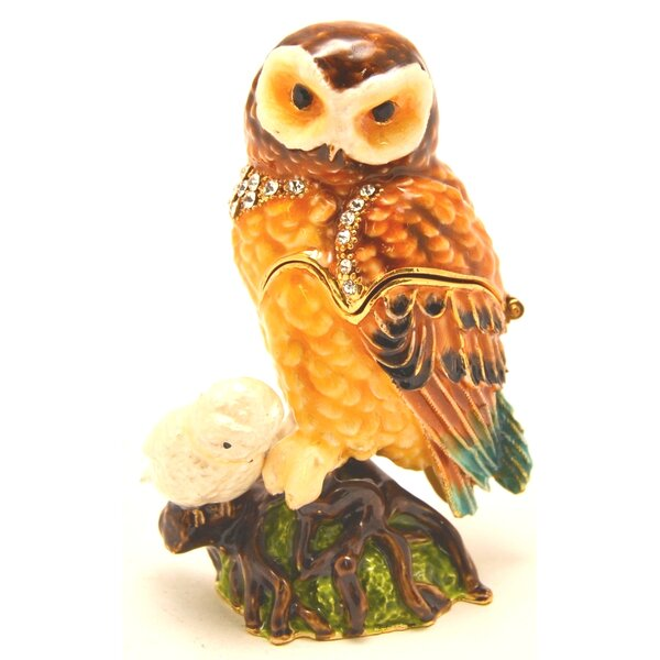 Owl with Baby on Branch Jewelry Box by Millwood Pines
