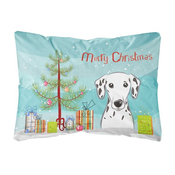 Hermann Christmas Tree and Dalmatian Fabric Indoor/Outdoor Throw Pillow by The Holiday Aisle