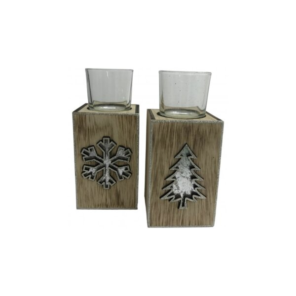 2 Piece Wood Tealight Holder Set by The Holiday Aisle