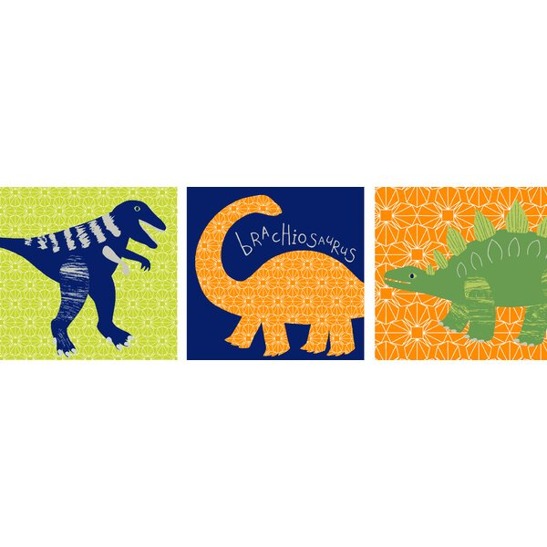 Dino Doodles 3 Piece Wall Canvas Art Set by Arthouse
