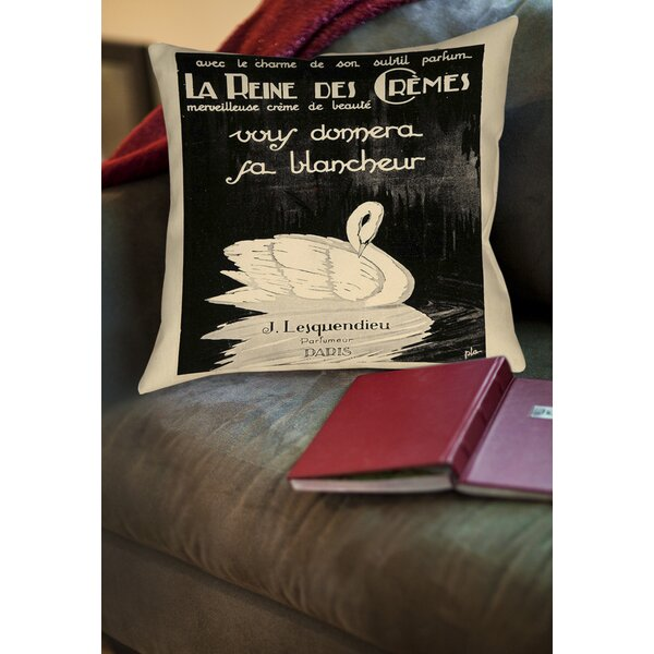 Swan Cremes Printed Throw Pillow by Manual Woodworkers & Weavers
