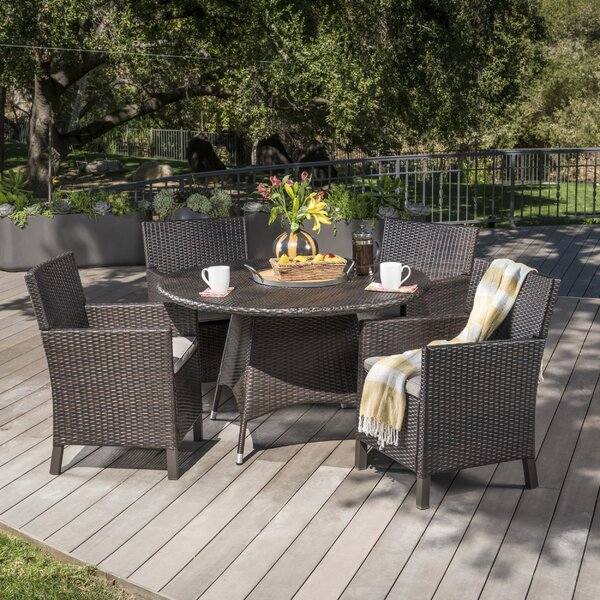 Argueta Outdoor Wicker 5 Piece Dining Set with Cushions by Ivy Bronx