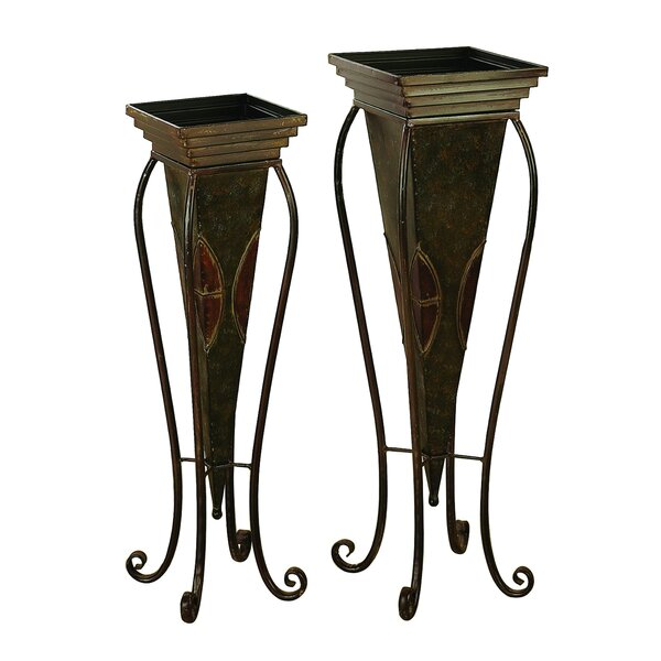 Circe Traditional Inverted Pyramid-Style 2-Piece Metal Urn Planter Set With Stand by Fleur De Lis Living