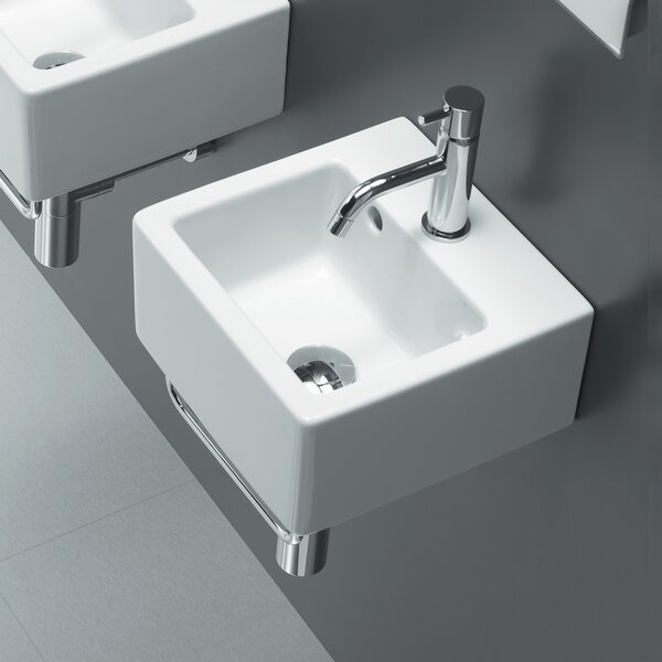 Area Boutique Ceramic 12 Wall Mount Bathroom Sink with Overflow by Bissonnet