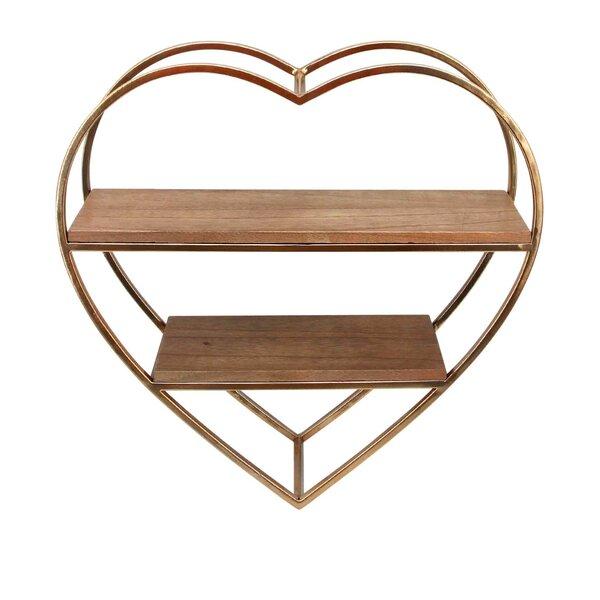 Hermidale Heart Shape Metal and Wood Wall Shelf by House of Hampton