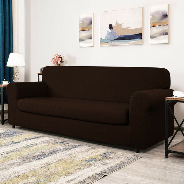 Yolpsva Rhombus Jacquard Box Cushion Sofa Slipcover By Winston Porter