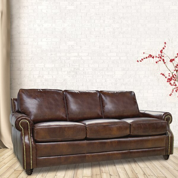 Get Great Mellor Leather Sofa by Alcott Hill by Alcott Hill