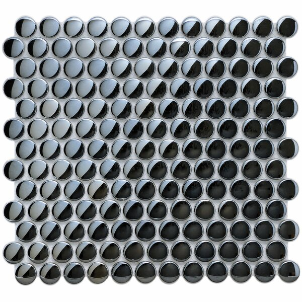 Sable 0.88 x 0.88 Glass Mosaic Tile in Black by EliteTile