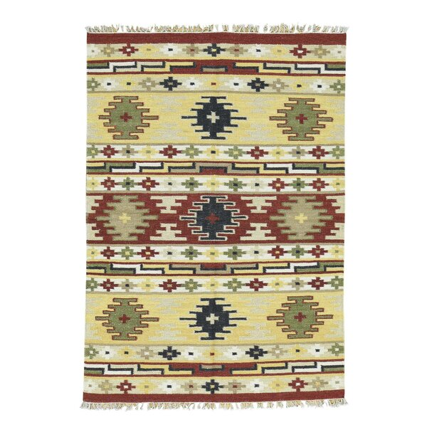 Anatolian Durie Kilim Flat Weave Hand-Knotted Green/Yellow/Red Area Rug by Bloomsbury Market