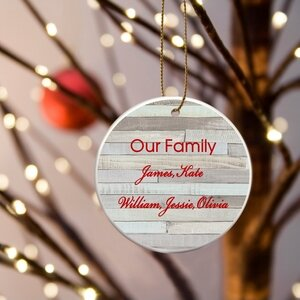 Our Family Ceramic Ornament by JDS Personalized Gifts