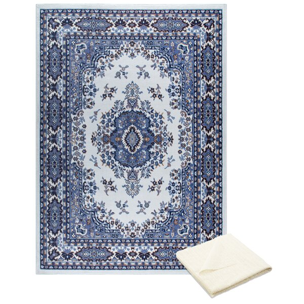 Rossman Persian Ivory/Blue Area Rug with Rug Pad by Astoria Grand
