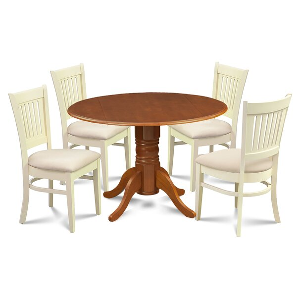 Zebulon 5 Piece Drop Leaf Solid Wood Dining Set by Millwood Pines