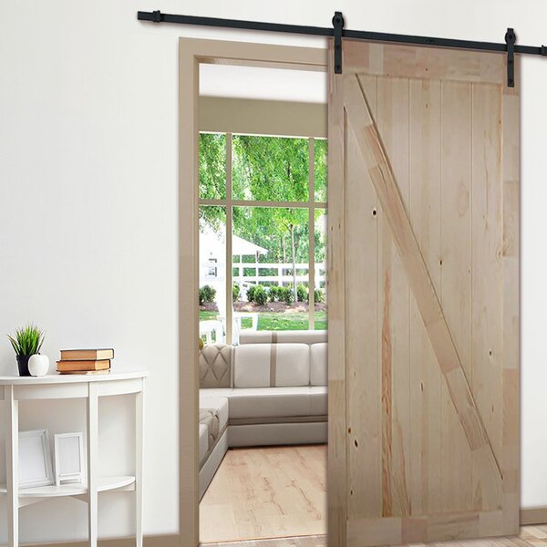 Knotty Pine Z-Rail Solid Wood Panelled Slab Interior Barn Door by Kimberly Bay