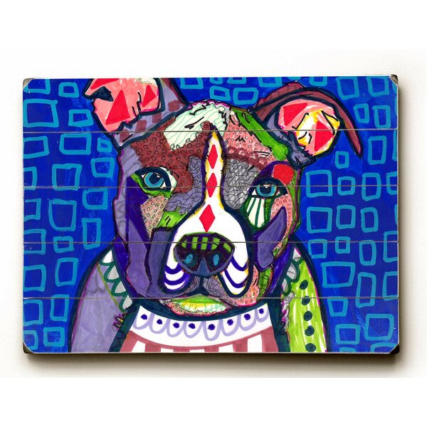 Pitbull and Blue Squares Wall Art by Latitude Run