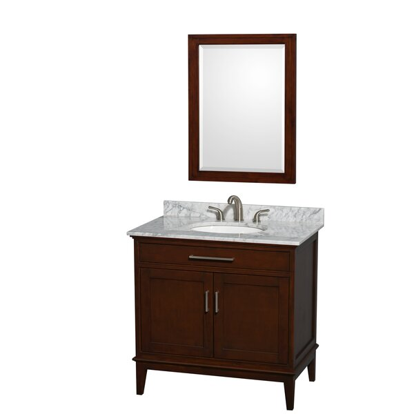 Hatton 36 Single Dark Chestnut Bathroom Vanity Set with Mirror by Wyndham Collection