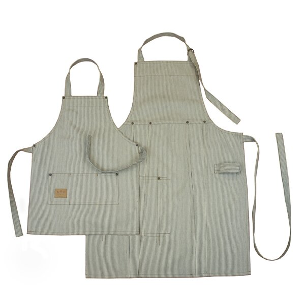Railroad Stripe Denim Adult and Kids Bib Apron Set by ASD Living