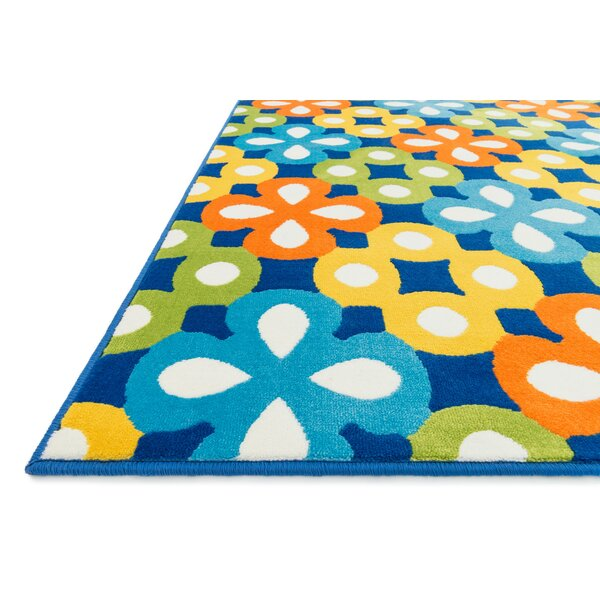 Stacy Blue Geometric Area Rug by Harriet Bee
