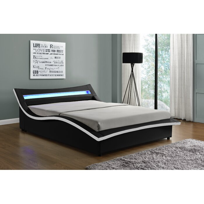Orren Ellis Queen Sabara Upholstered LED Storage Platform Bed