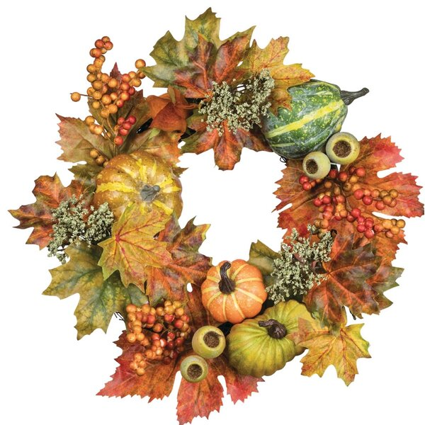 Autumn Pumpkin Gourd and Lantern Accent Ring 14 Polyester Wreath by August Grove