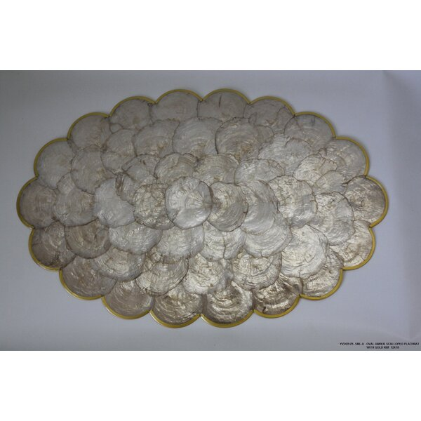 Gold Rim Scalloped Placemat (Set of 4) by Desti Design