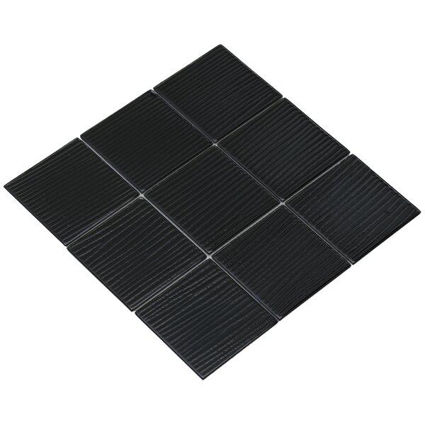 Shilla 12 x 12 Glass Mosaic Tile in Black by Mirrella