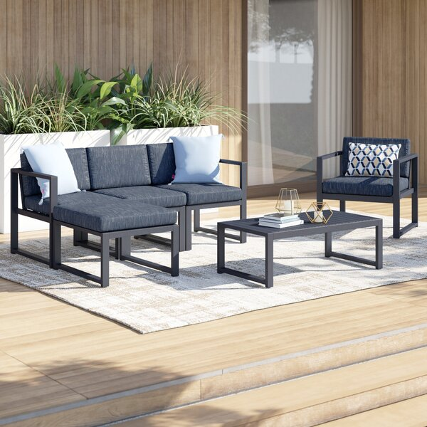 Mirando Outdoor 6 Piece Sofa Seating Group with Cushions by Mercury Row