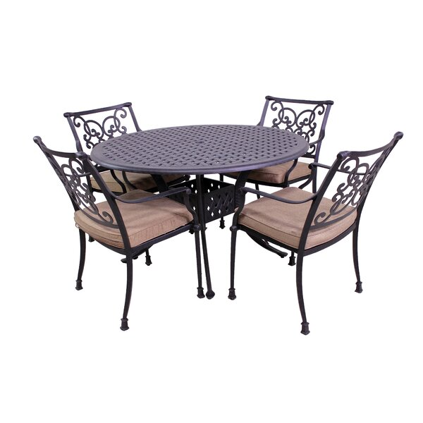 Elzada 5 Piece Sunbrella Dining Set with Cushions by Fleur De Lis Living