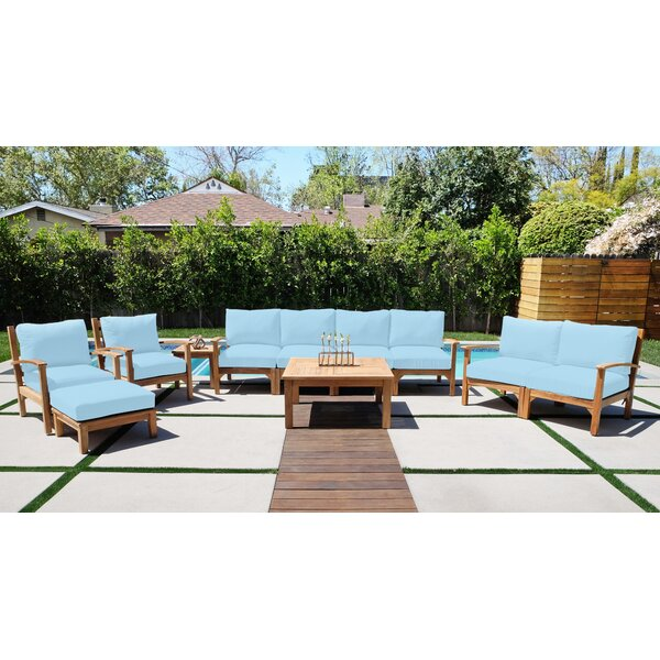Crescio 11 Piece Teak Sofa Seating Group with Sunbrella Cushions by Foundry Select