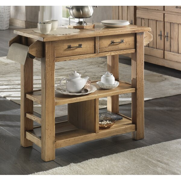 Karval Serving Kitchen Island with Wood Top by Loon Peak